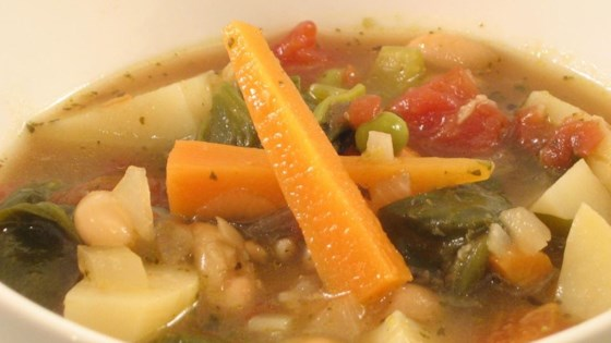 Photo of Italian Vegetable Soup with Beans, Spinach & Pesto by USA WEEKEND columnist Pam Anderson