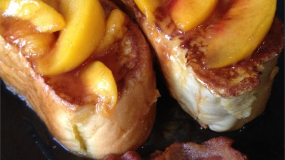 Photo of Mascarpone Stuffed French Toast with Peaches by Escapechef