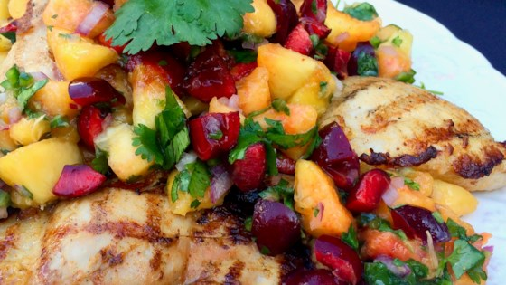 Grilled Chicken Thighs with Peach and Cherry Salsa Recipe