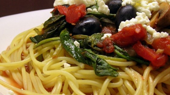 Photo of Quick and Easy Greek Spaghetti  by hokiemom