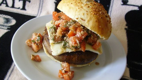 Photo of Portobello Mushroom Burger With Bruschetta Topping by CNM CATERING