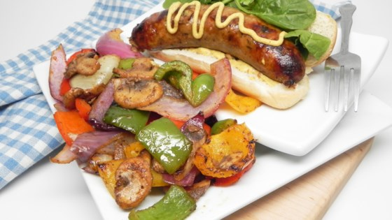 Photo of Grilled Boudin with Onions, Peppers, and Mushrooms by Soup Loving Nicole