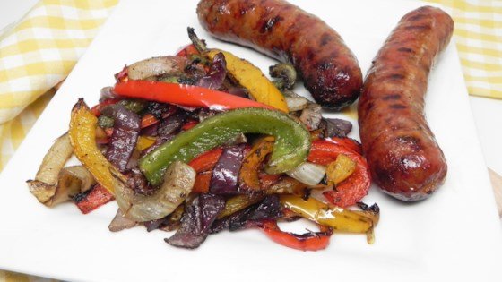 Photo of Grilled Italian Sausage with Peppers and Onions by Soup Loving Nicole