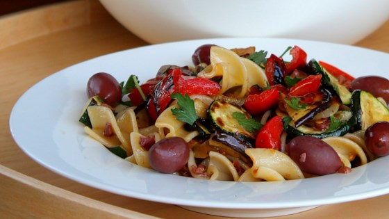 Photo of Vegan Italian Pasta Salad with Vegetables and Olives by Buckwheat Queen