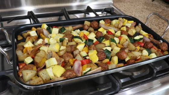 Photo of Sausage, Shallot, and Squash One-Pan Meal by 1010lisalynn