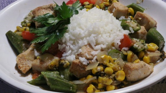 Photo of Chicken Stew with Okra, Corn, and Tomatoes by Bibi