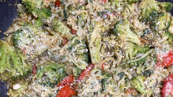 Photo of Pesto Zucchini Noodles with Tomatoes and Broccoli by alohakellygirl