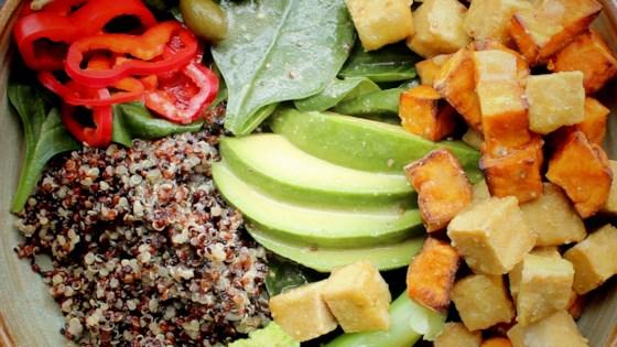 quinoa salad with crispy tofu cubes and lime vinaigrette review