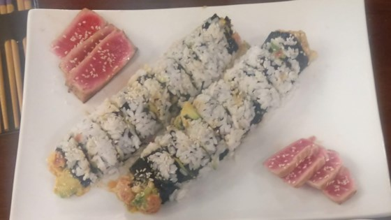 inside out spicy tuna and avocado sushi review by kristin