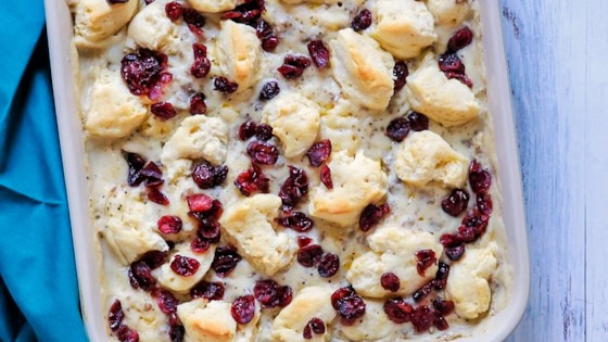 sausage cranberry and biscuit breakfast bake review by