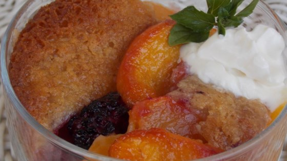 Photo of Peach and Blackberry Cobbler by bakerchic12321