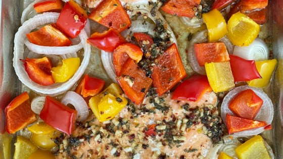 sheet pan salmon and bell pepper dinner review by jacqued