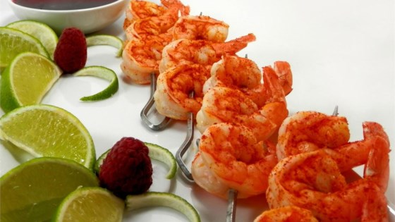 Photo of Butterfly Chili Lime Prawn Spedini with Raspberry Dipping Sauce by Raelee's recipes
