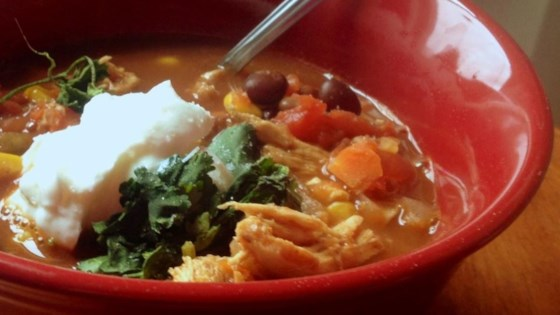 Photo of Healthier Slow Cooker Chicken Taco Soup by MakeItHealthy