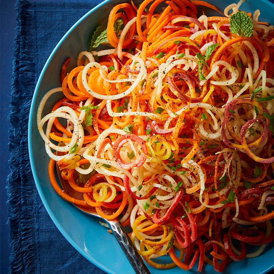 Spiralized Rainbow Carrots Laura Marzen, R.D., L.D.