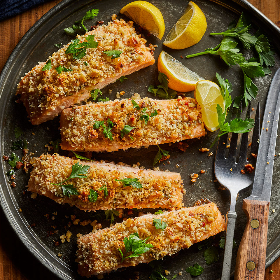 Salmon and walnuts are both great sources of omega-3 fatty acids. Pair this easy salmon recipe with a simple salad and a side of roasted potatoes or quinoa.