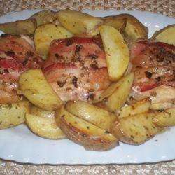 Bacon-Roasted Chicken with Potatoes Deb C