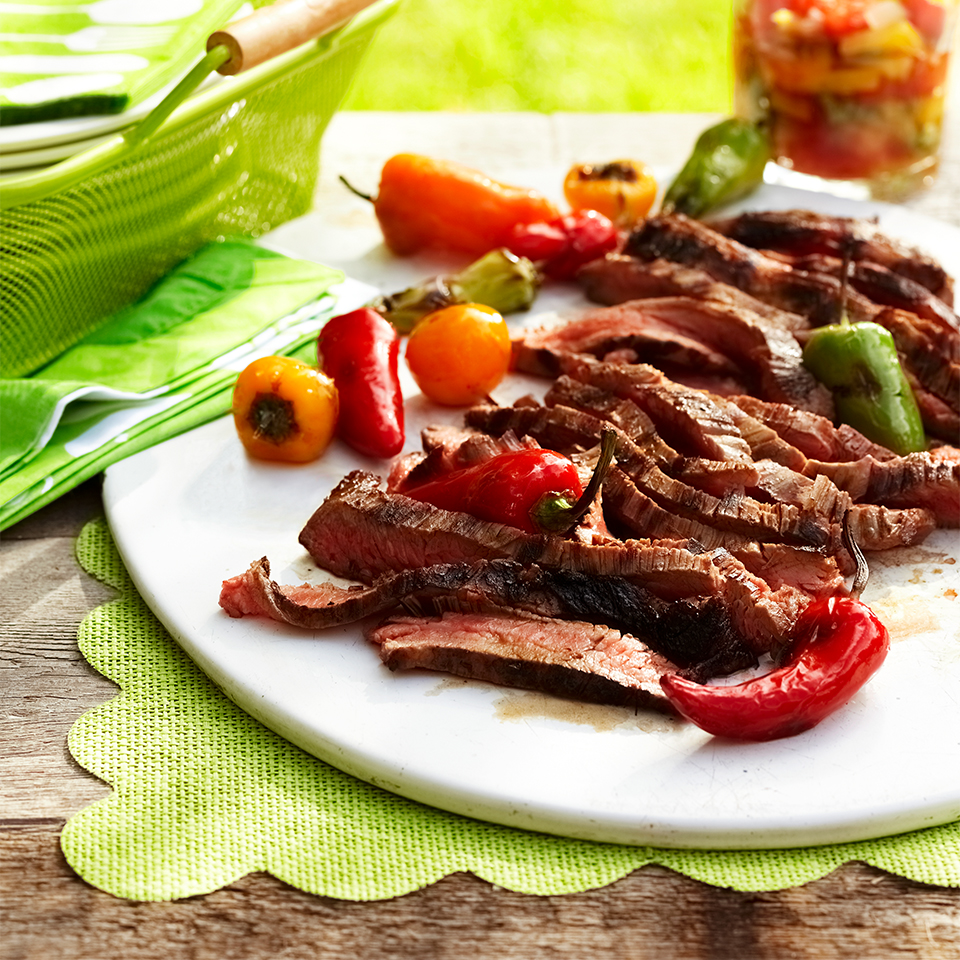 Garlic-Lime Skirt Steak with Charred Sweet Peppers & Grilled Tomato-Pepper Chutney Diabetic Living Magazine