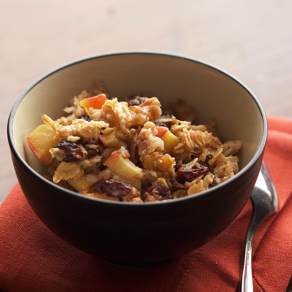 Because they are full of soluble fiber, oats can help to moderate blood sugar levels by slowing digestion. They taste great combined with apples, cherries and walnuts in this hearty, 30-minute breakfast casserole.