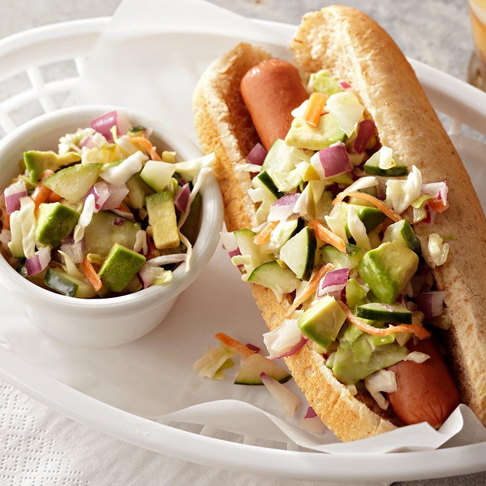 Hot Dog with Cucumber-Avocado Slaw Diabetic Living Magazine