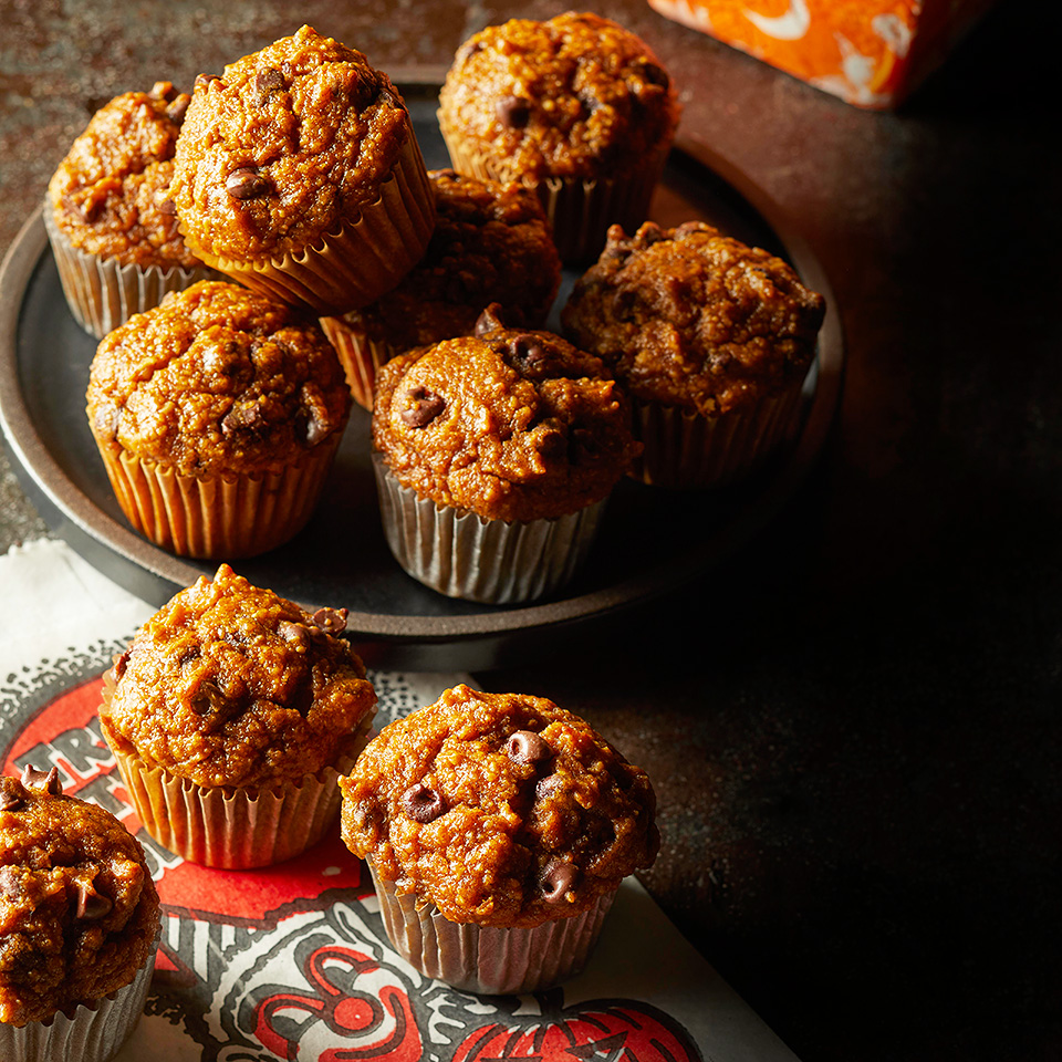 These flourless pumpkin muffins are made entirely in the blender, making cleanup a breeze. If you'd rather make 12 regular-size muffins, bake for 18 to 20 minutes and let cool for 10 minutes before turning them out of the pan.