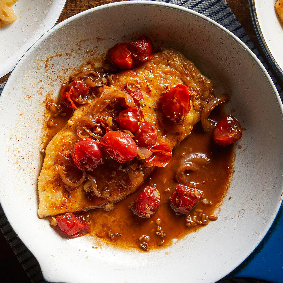 Fennel seeds give this tomato and balsamic sauce an extra kick, but if you don't have them on hand, try using cumin or coriander seeds, or 1 teaspoon of a ground herb or spice. Serve this easy chicken breast recipe with whole-wheat spaghetti or crusty bread to sop up the sauce. Save the unused chicken tenders in an airtight container in your freezer for up to 3 months. Once you have enough, thaw them out for another use.