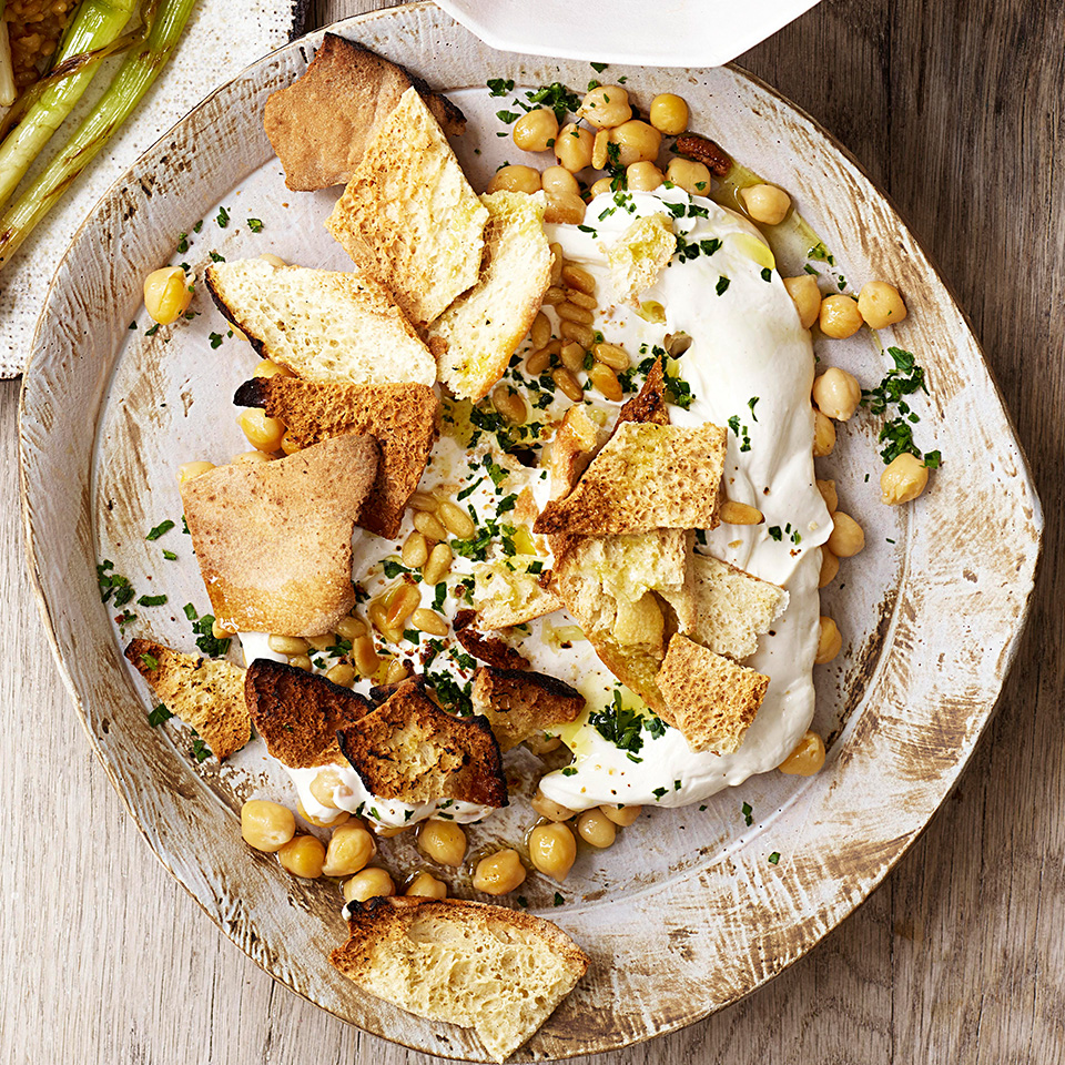 Chickpeas with Garlicky Yogurt & Toasted Pita (Fatteh Hommos) Kamal Mouzawak