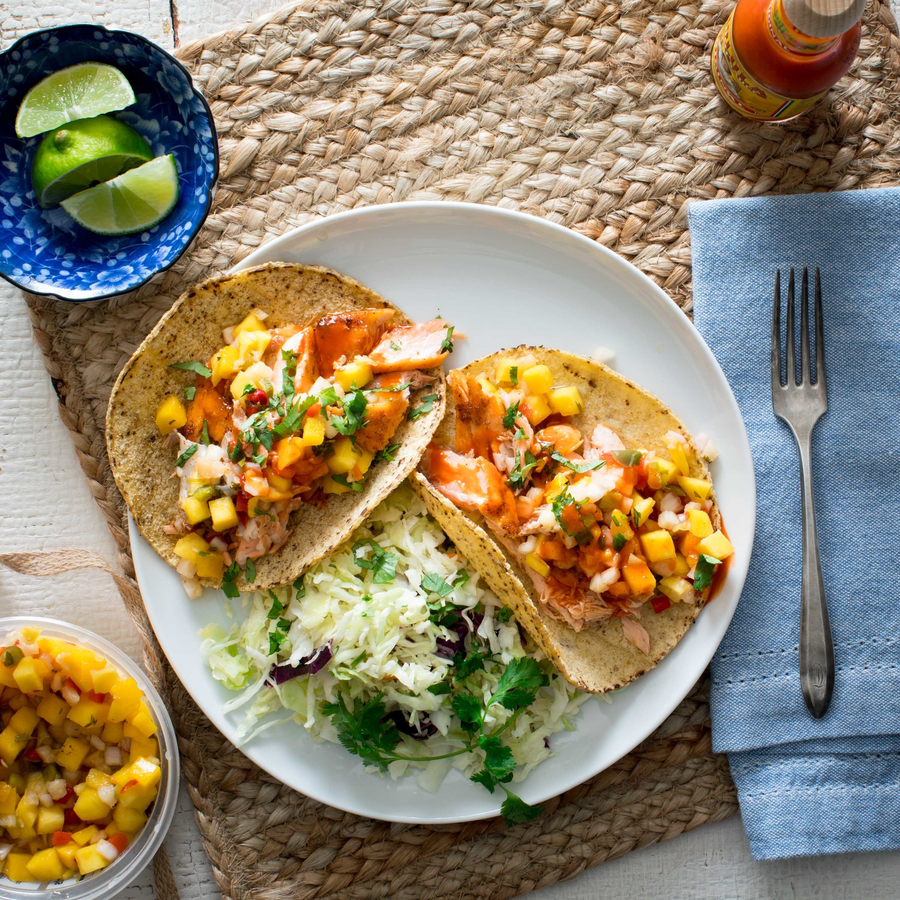 Salmon Tacos with Pineapple Salsa Katie Webster