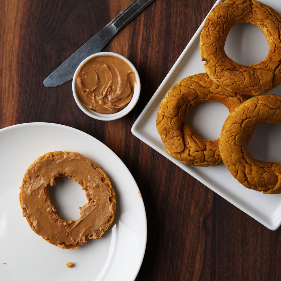 Our popular two-ingredient dough bagels are easy to make vegan with a simple swap. Here, we use pureed pumpkin (instead of Greek yogurt) combined with self-rising flour to make a dairy-free version of the easiest bagels ever. A little pumpkin pie spice takes them to next-level deliciousness. Want to go even further? Add a tablespoon of pure maple syrup to the dough. Then spread on some nut butter or vegan cream cheese and breakfast is served!