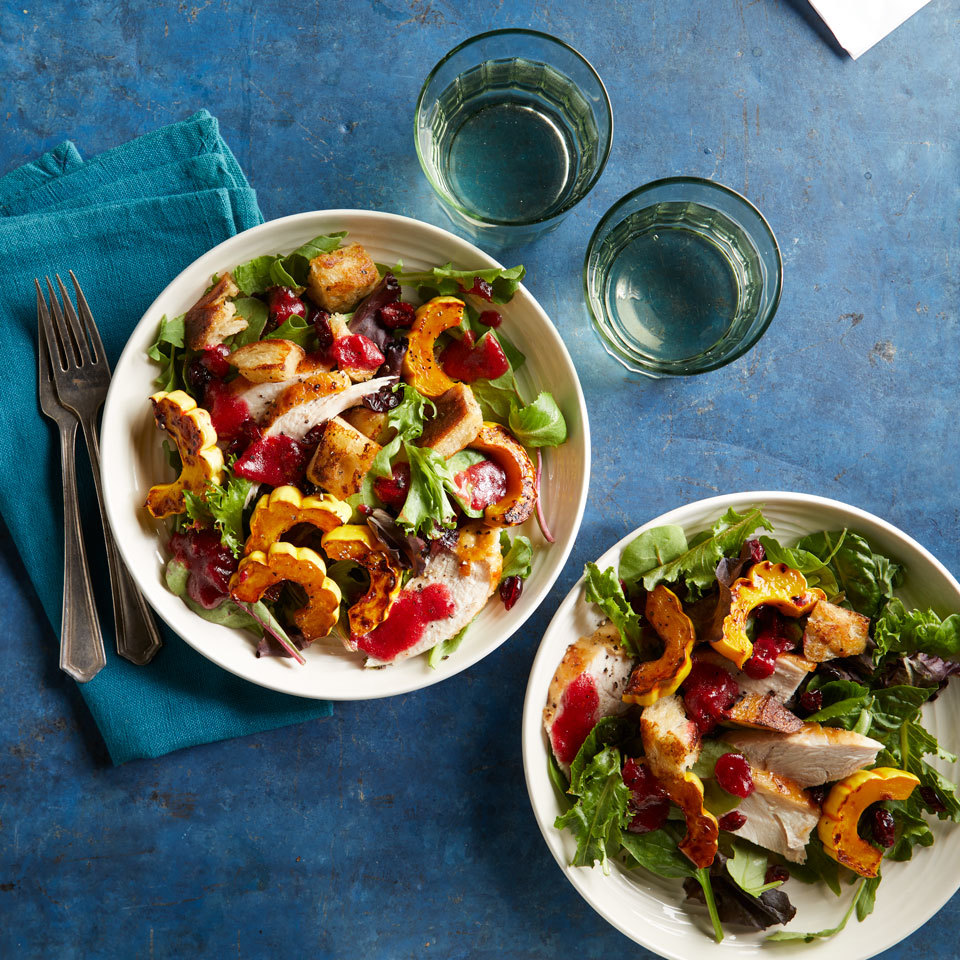 Holiday leftovers often end up in casseroles and soups, but they are also delicious in a light but hearty salad. In addition to leftover turkey, this recipe takes advantage of leftover stuffing (which is transformed into crisp croutons), cranberry sauce (which enhances the dressing) and whatever leftover roasted vegetables you have on hand.