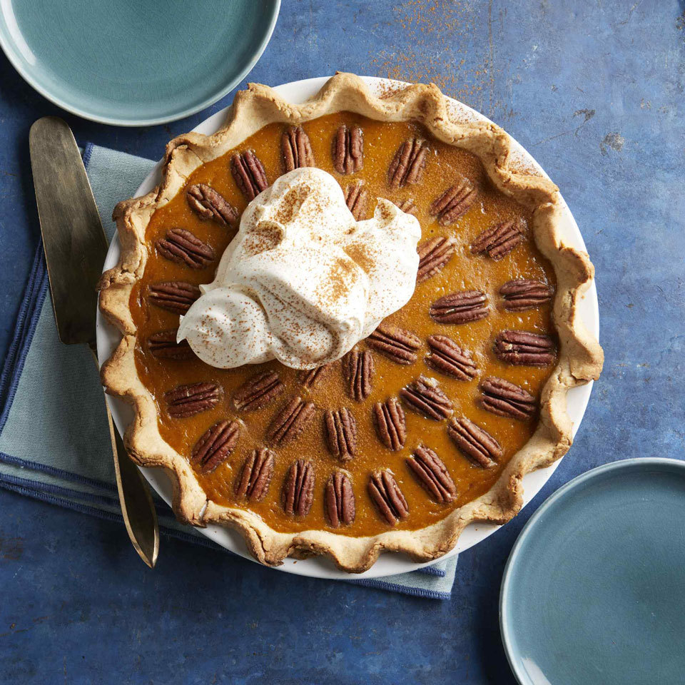 This recipe mash-up marries the sweet, subtle flavor of pumpkin with the nuttiness of pecans. Not only do the pecans create a beautiful pattern on top, their addition to classic pumpkin pie also creates an amazing textural combination of creamy and crunchy. Serve with a dollop of whipped cream to make it even more delicious.