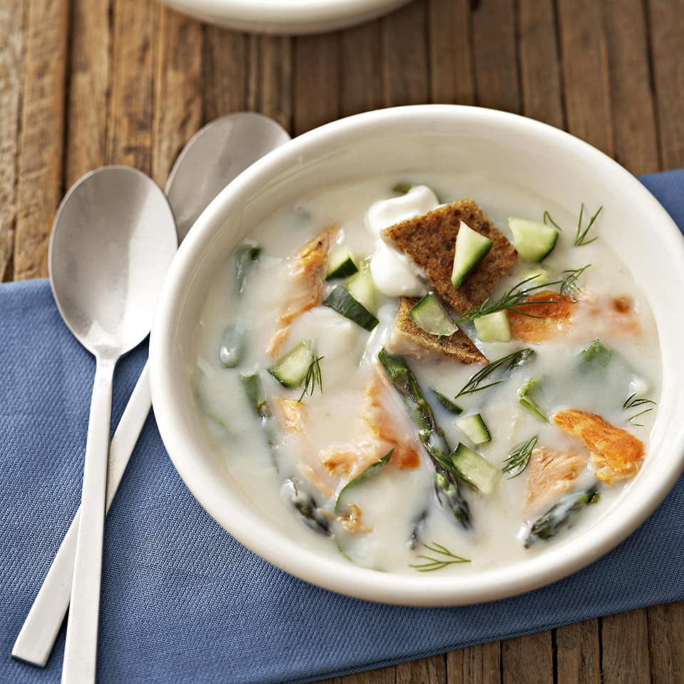 Dilled Salmon & Asparagus Soup Diabetic Living Magazine