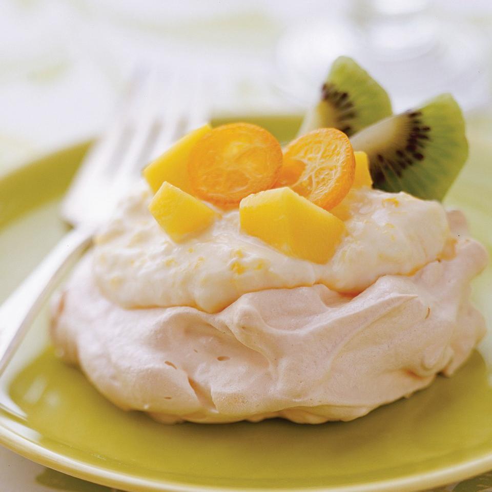 Tropical Fruit Pavlova with Mango Cream Diabetic Living Magazine