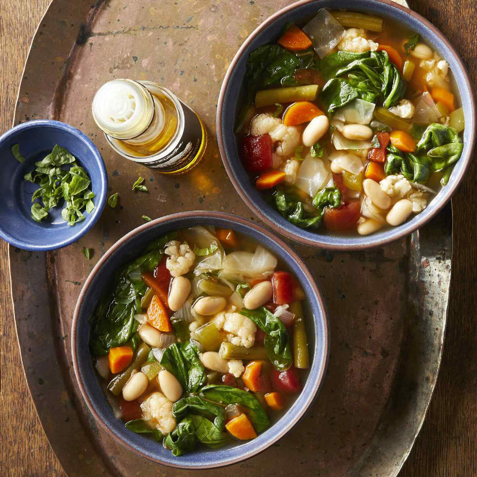 This easy soup recipe cooks up quickly thanks to the use of an electric pressure cooker or multicooker, like the Instant Pot. It packs in tons of filling veggies without packing on the calories. Plus, it happens to be entirely plant-based. If you aren't eating vegan, top it with a little Parmesan cheese or pesto to add even more flavor.