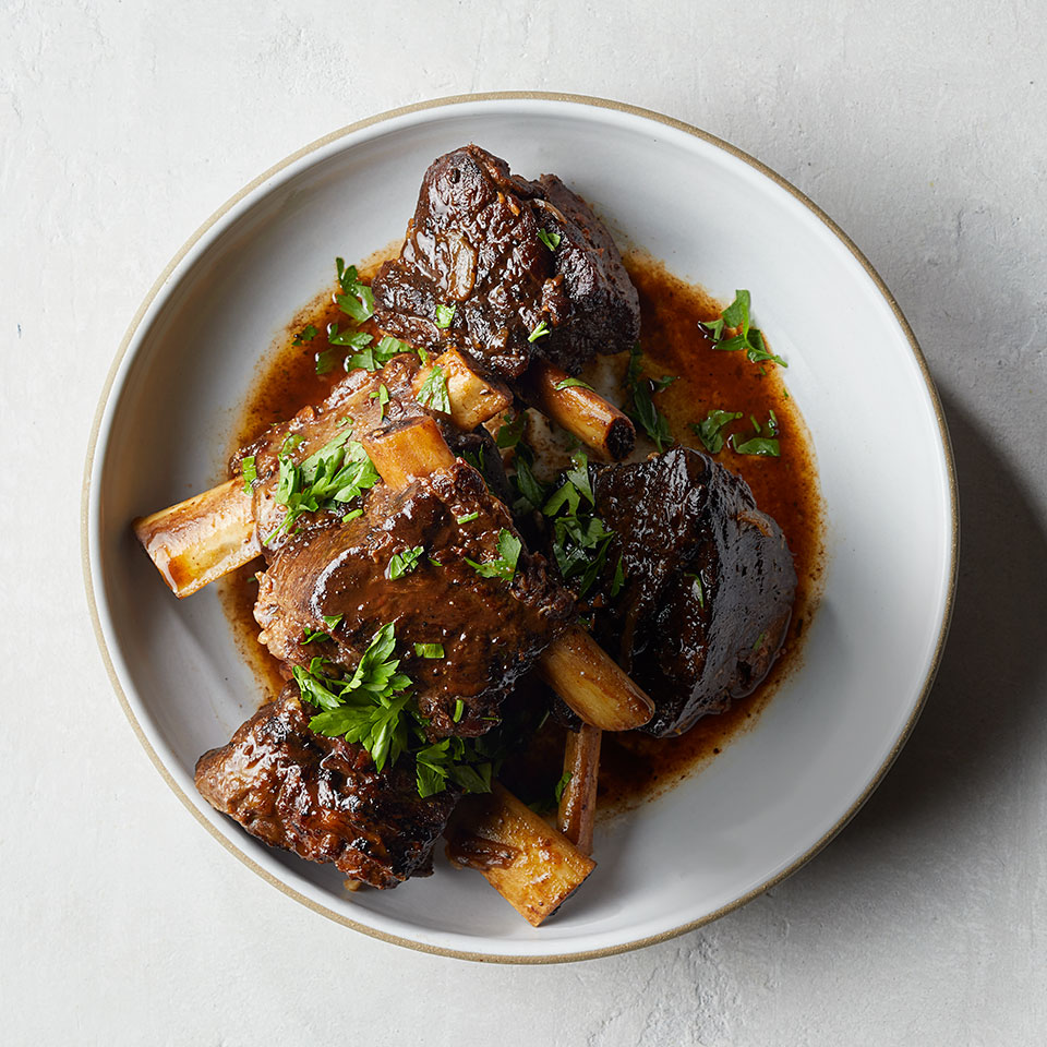 Now here's a healthy beef short ribs slow-cooker recipe you can serve to company—even on a holiday. Serve with mashed celeriac or mashed potatoes, steamed green beans and a bold Italian red wine that has a touch of sweetness (think amarone or brunello).