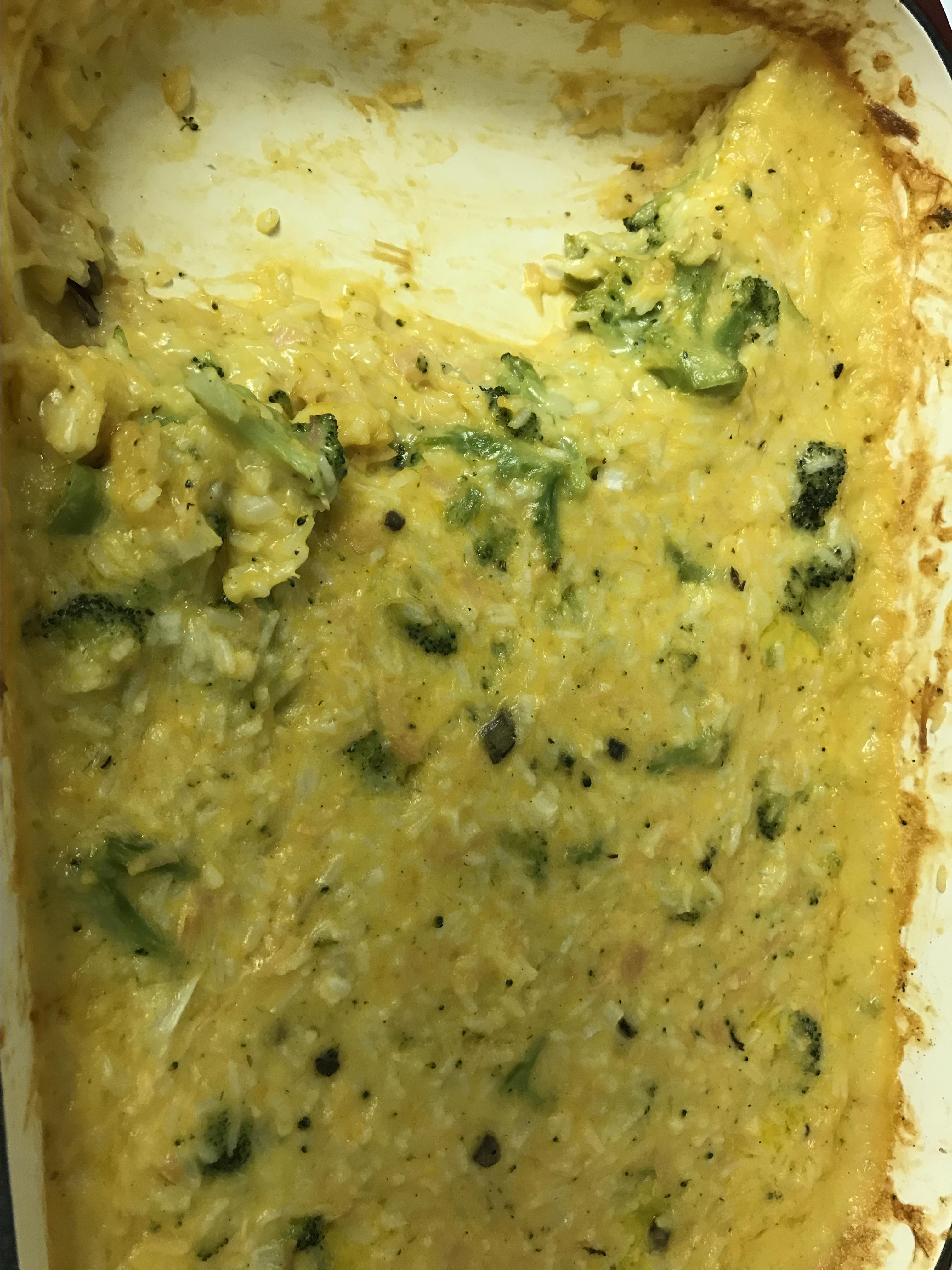 Broccoli, Rice, Cheese, and Chicken Casserole