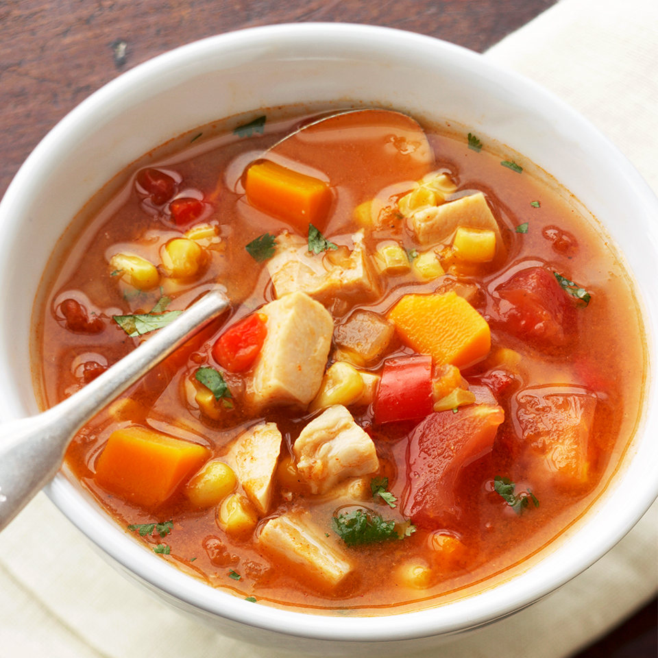 Red sweet pepper, winter squash and cilantro brighten up this spicy soup, making this Mexican-inspired one-dish meal the perfect family dinner. Accompany with a fresh fruit salad and warm crusty bread.