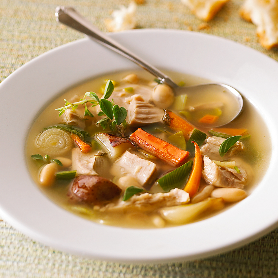 Be creative with your holiday leftovers—there's more to after-Thanksgiving eating than cold turkey sandwiches. This simple turkey soup is loaded with cannellini beans, which add protein and fiber without adding calories. Enjoy this soup any time of the year by making our Herb-Roasted Turkey & Vegetables (see associated recipe), which makes enough for a meal as well as this soup.