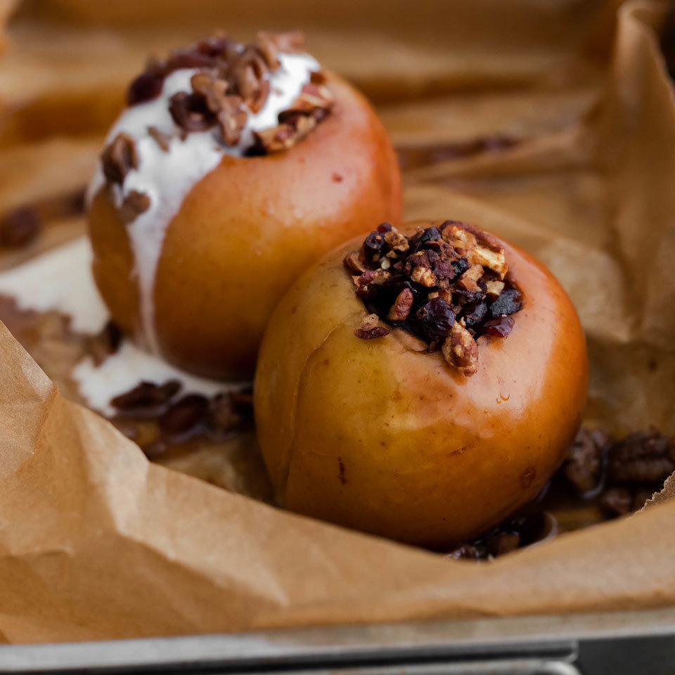 The aroma of baked apples filled with dried fruit and toasted nuts will brighten up any cold winter's day.