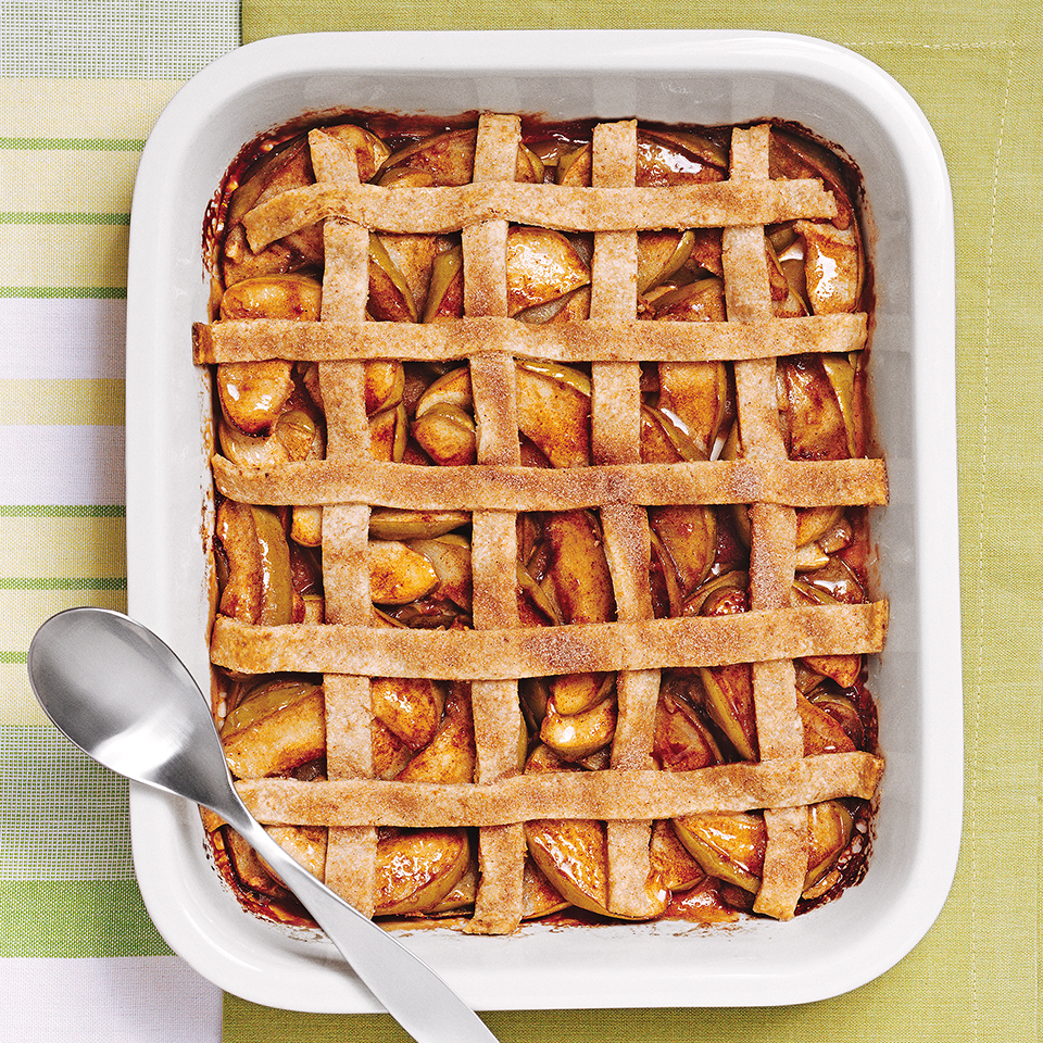 Apple pie has never been so quick to put together. After tossing unpeeled apples and spices in a baking dish, you'll assemble a quick lattice from pastry strips. This lattice topping is not woven like a traditional one—it takes less time to assemble this way but is just as eye catching!