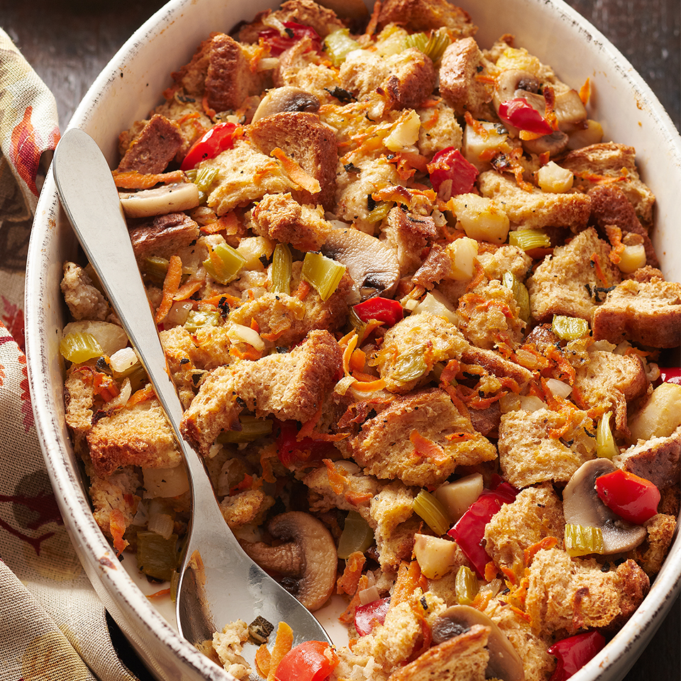 This bread stuffing has more than your basic celery and onion—you'll love the unexpected addition of mushrooms, red pepper, carrots and water chestnuts! And while it's the perfect addition to your holiday menu, it's also a great choice for serving with chicken or fish any night of the week.