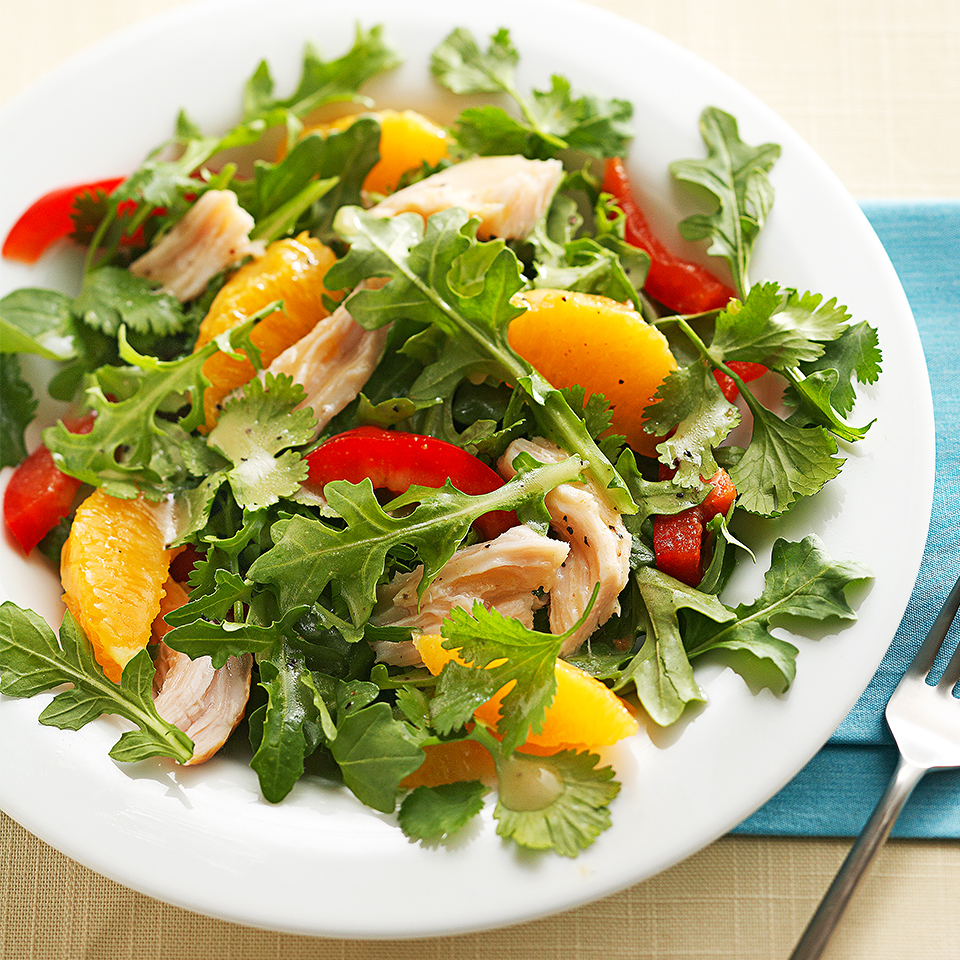 This simple 30-minute salad recipe is perfect for a quick lunch. Leftover turkey is tossed with arugula and bell pepper in a honey-Dijon vinaigrette, then topped with fresh orange sections—each bite is a burst of fresh flavors!
