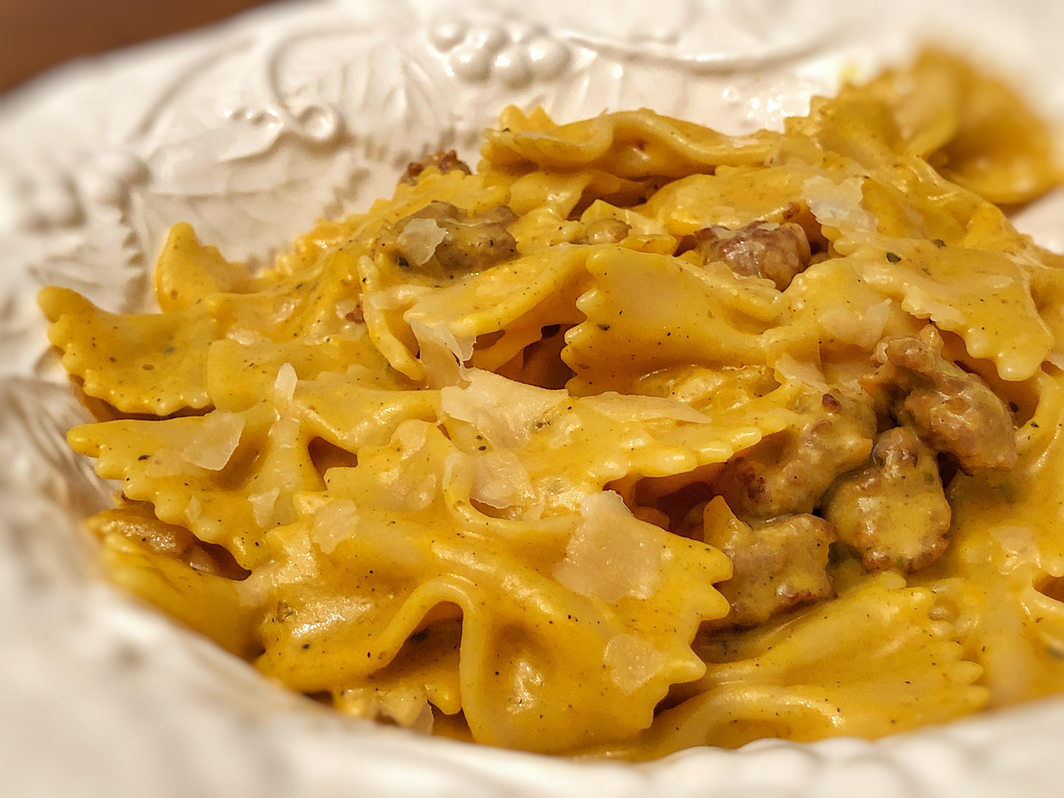 Pasta with Italian Sausage and Pumpkin Sauce