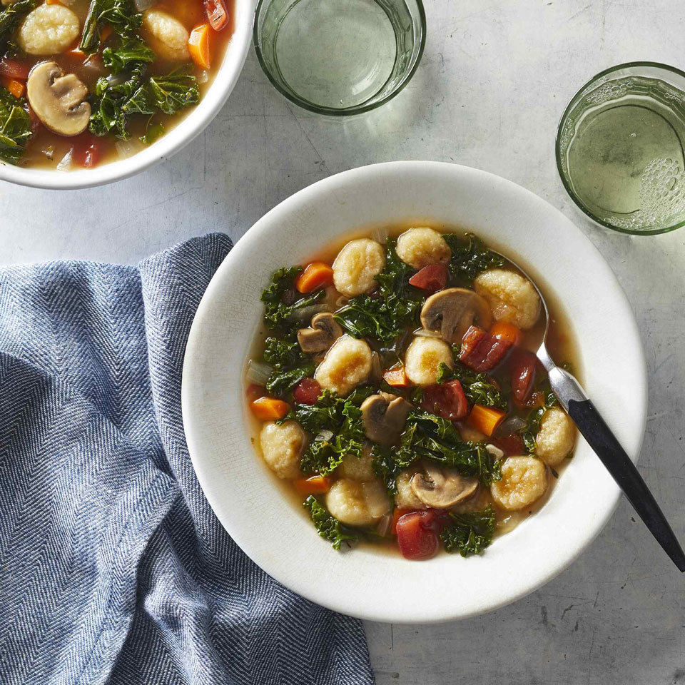 This Italian-inspired vegetable-packed soup features flavorful herbs, mushrooms, kale and tomatoes. Shelf-stable potato gnocchi are vegan, but if you want to make this soup gluten-free or lower in carbs, try cauliflower gnocchi instead.
