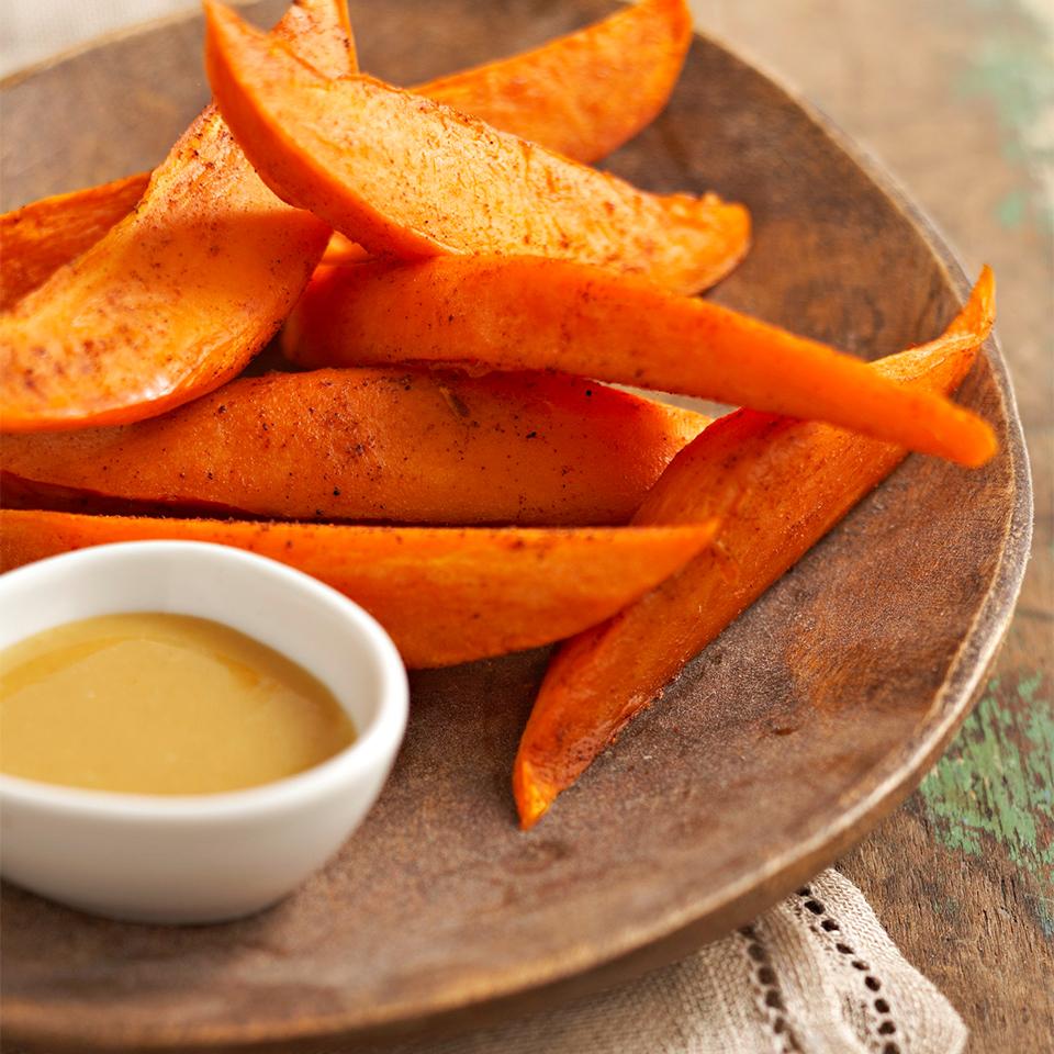 Sweet Potato Wedges with Honey Mustard Dipping Sauce Diabetic Living Magazine