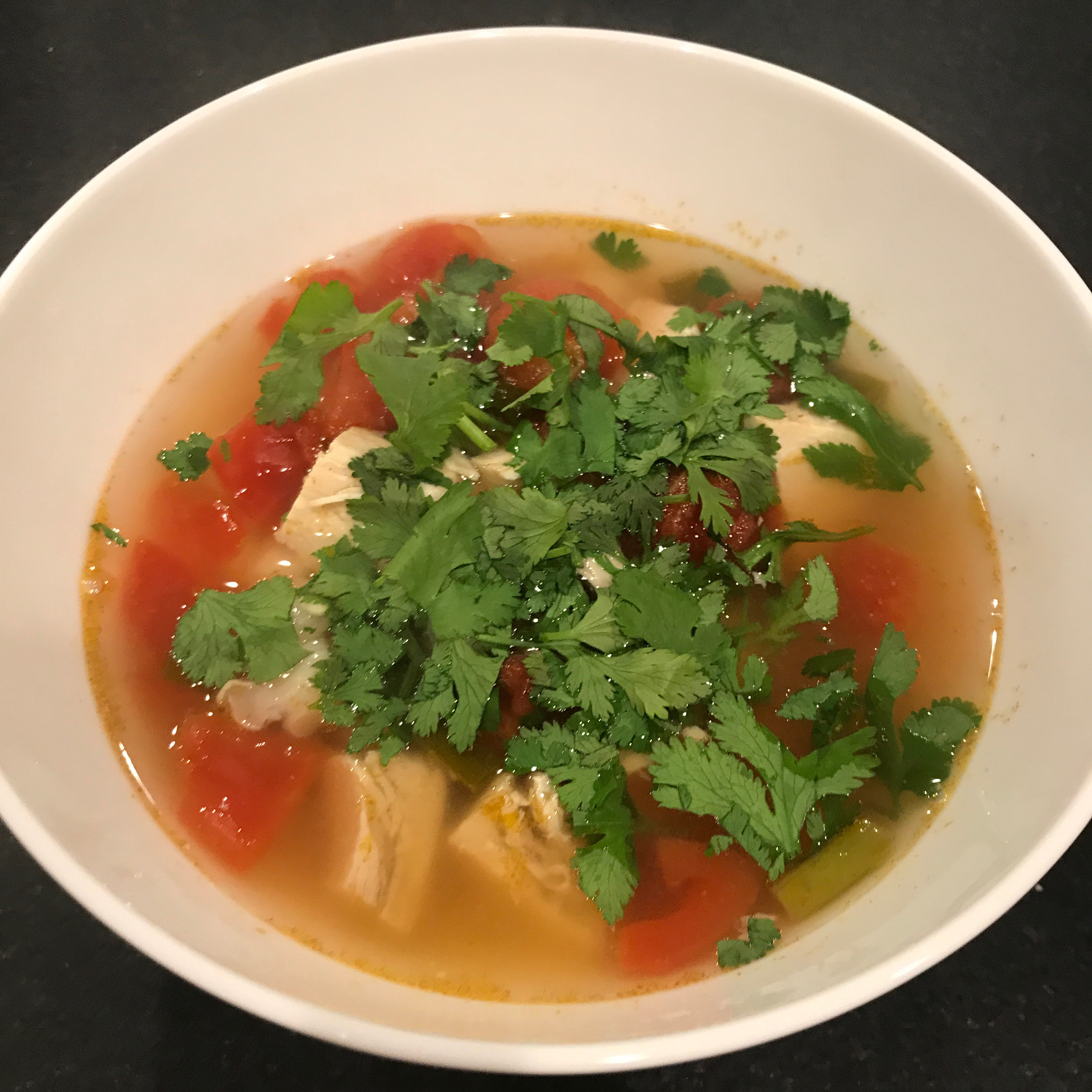 Chicken and Hominy Soup with Lime and Cilantro Dave