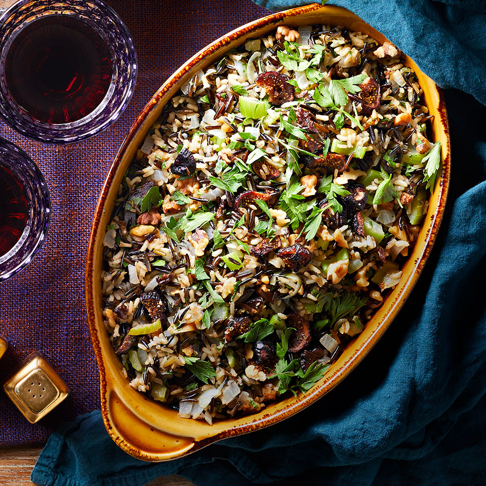 This gluten-free dressing (or stuffing, if you prefer) leans on a blend of brown and wild rice for a complex nutty flavor. Look for dried Mission figs in the bulk aisle or with the packaged dried fruit in your grocery store. You can swap in dried cherries or cranberries if you can't find dried figs.