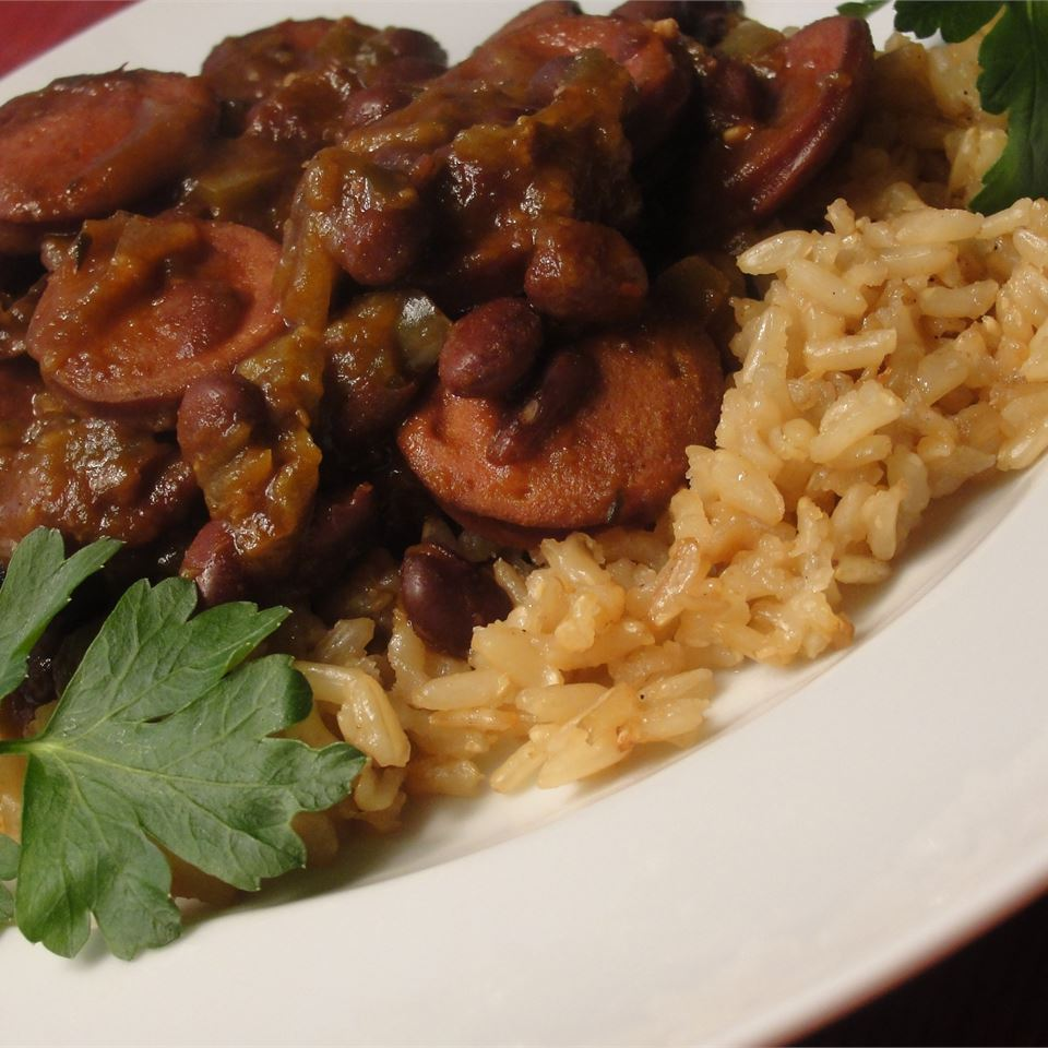 Slow Cooker Creole Black Beans and Sausage - Printer Friendly