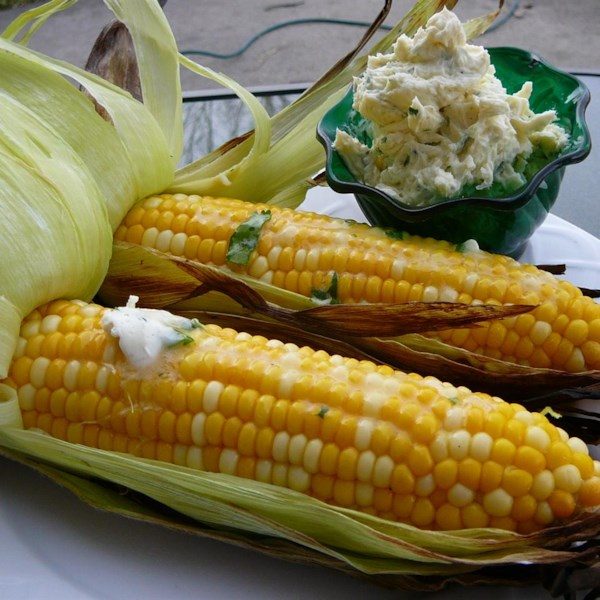 grilled corn with cilantro lime butter photos