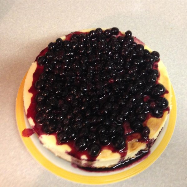 lemon souffle cheesecake with blueberry topping photos